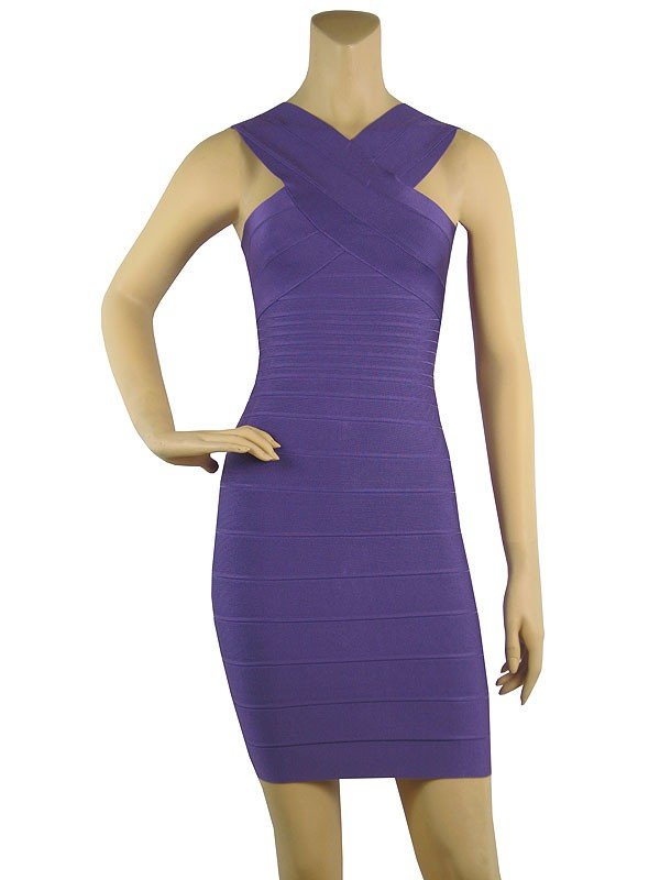 Herve Leger Purple V Neck Halter Bandage Dress  Herve Leger 152 ... 30079fe36