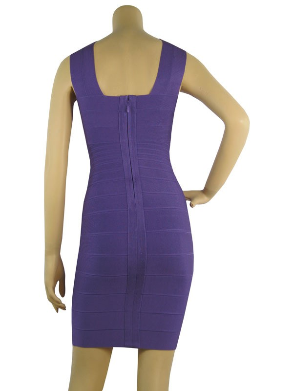 Herve Leger Purple Cross Neck Halter Bandage Dress