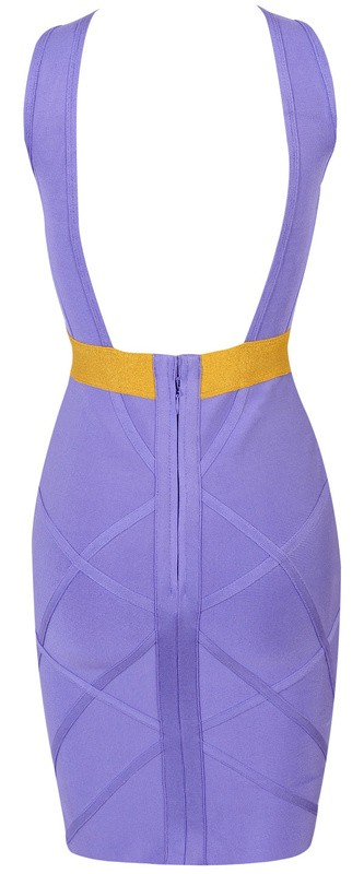 Herve Leger Purple Halter Cutout Bandage Dress