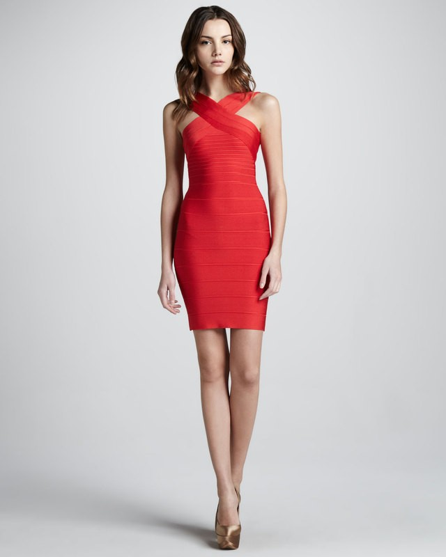 Herve Leger Red Cross Neck Halter Bandage Dress