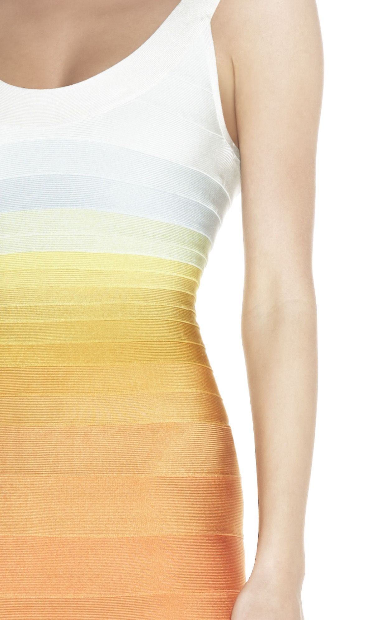 Herve Leger Round Neck Halter Gradient Color Block Bandage Dress