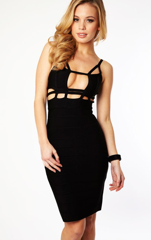 Herve Leger Sexy Halter Black Cutout Bandage Dress