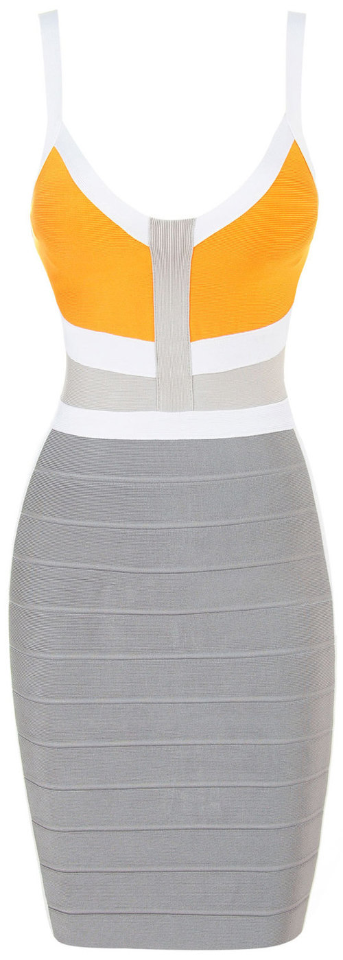 Herve Leger Sleeveless Yellow And Grey Colorblock Bandage Dress
