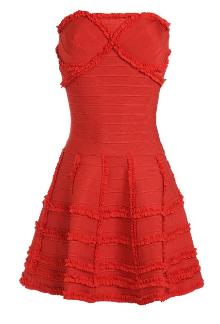 Herve Leger Strapless Ruffle Hem Peachy Bandage Dress