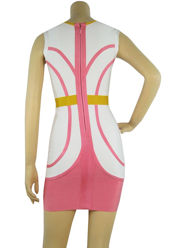 Herve Leger V Neck Art Cross Straps Colorblock Dress