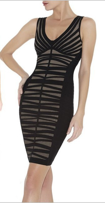 Herve Leger V Neck Black Striped Translucent Bandage Dress