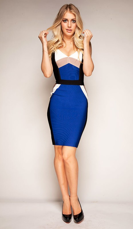 Herve Leger V Neck Blue Colorblock Bandage Dress