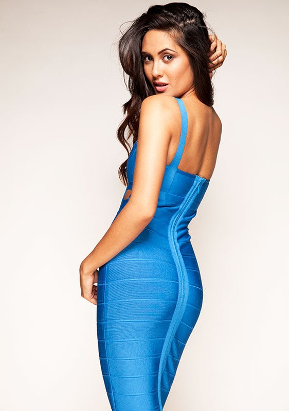 Herve Leger V Neck Halter New Blue Bandage Dress