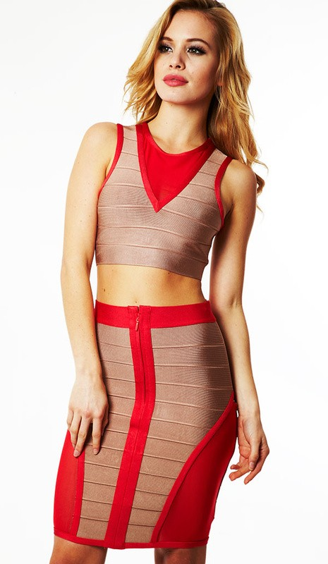 Herve Leger V Neck Red And Grey Colorblock See Through Bandage Dress
