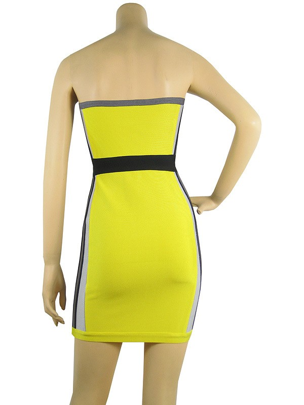 Herve Leger Yellow And Black Strapless Dress