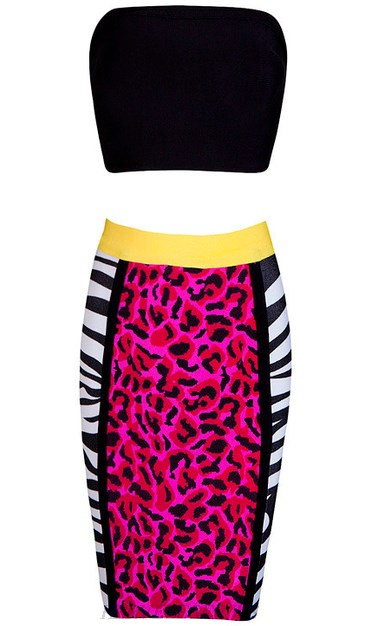 Herve Leger Black And Pink Leopard Print Two Piece Dress