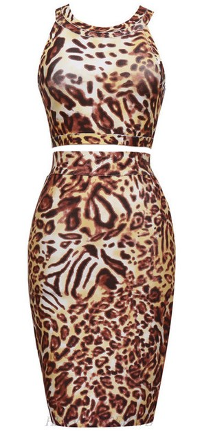 Herve Leger Leporad Print Two Piece Dress
