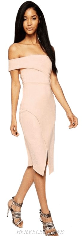 Herve Leger Pink Asymmetric Bardot Bandage Dress