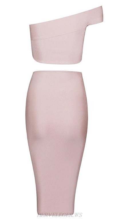Herve Leger Pink One Shoulder Cut Out Two Piece Bandage Dress