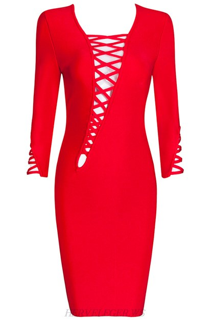 Herve Leger Red Asymmetrical Lace Up Dress
