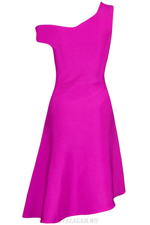 Herve Leger Purple Asymmetrical Skater Dress