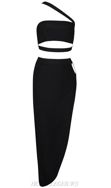 Herve Leger Black Asymmetrical Strap Two Piece Dress