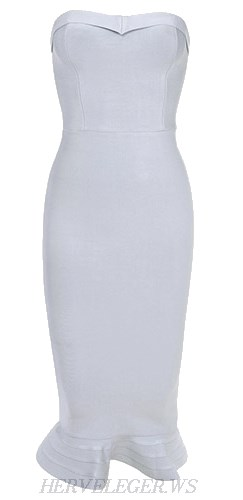 Herve Leger White Bandeau Fluted Bandage Dress