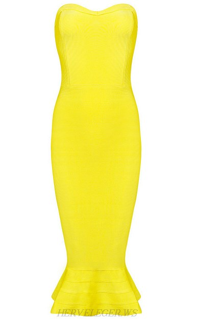Herve Leger Yellow Strapless Bandeau Fluted Bandage Dress