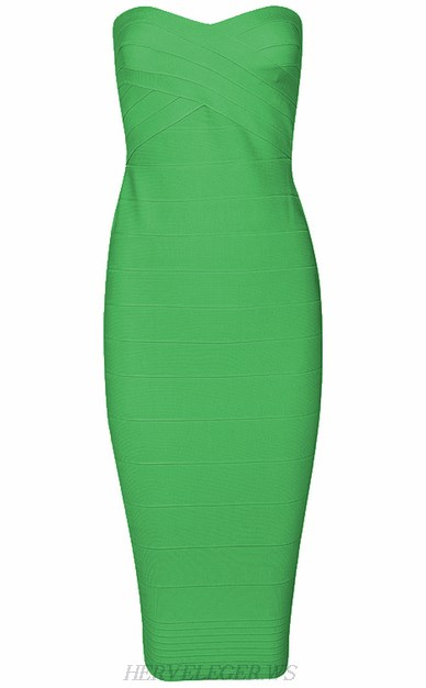 Herve Leger Green Bandeau Dress