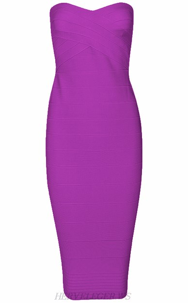 Herve Leger Purple Bandeau Dress
