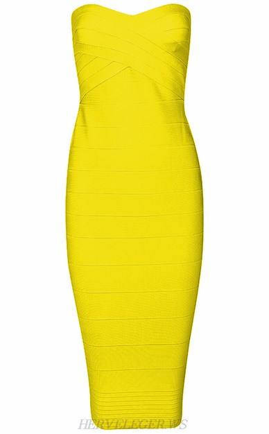 Herve Leger Yellow Bandeau Dress