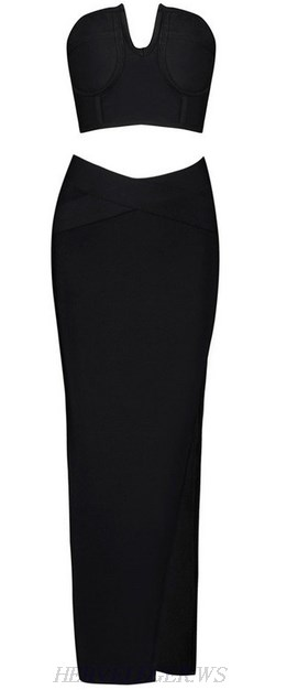 Herve Leger Black Bandeau Slit Maxi Two Piece Dress