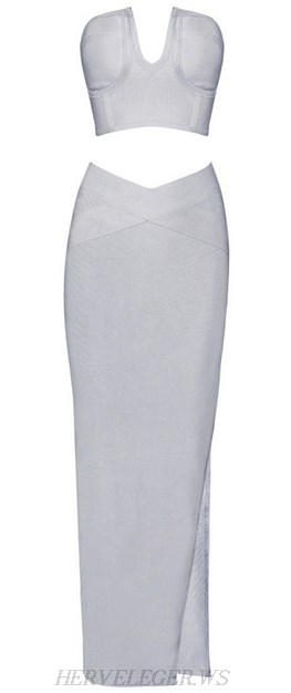 Herve Leger Grey Bandeau Slit Maxi Two Piece Dress