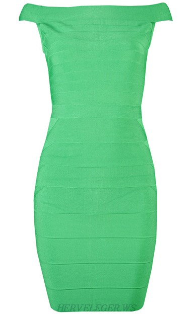 Herve Leger Green Bardot Bandage Dress
