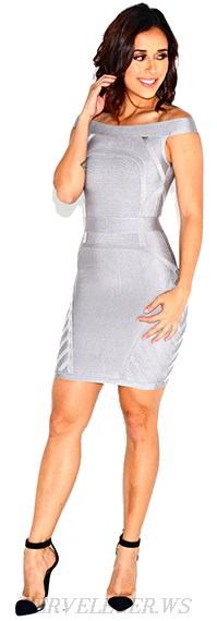 Herve Leger Grey Bardot Bandage Dress