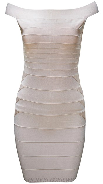 Herve Leger Nude Bardot Bandage Dress