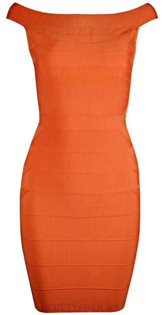 Herve Leger Orange Bardot Bandage Dress