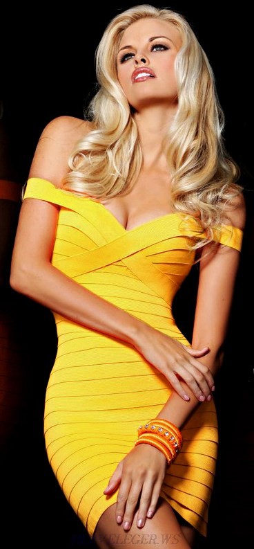 Herve Leger Tangerine Bardot Bandage Dress