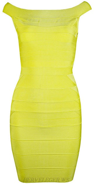 Herve Leger Yellow Bardot Bandage Dress