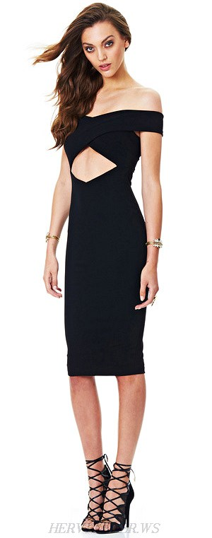 Herve Leger Black Bardot Cutout Bandage Dress
