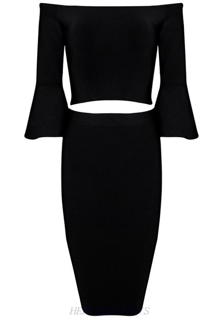 Herve Leger Black Bardot Flare Sleeve Two Piece Dress
