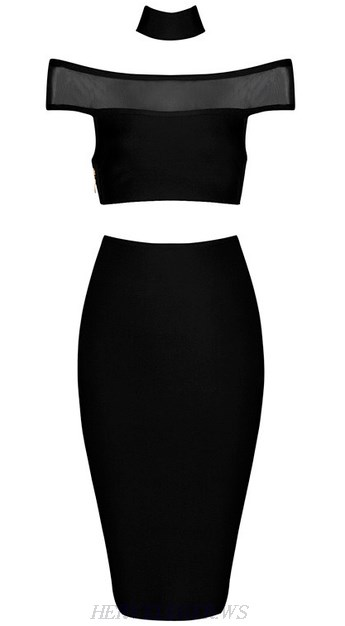 Herve Leger Black Bardot Mesh Two Piece Dress