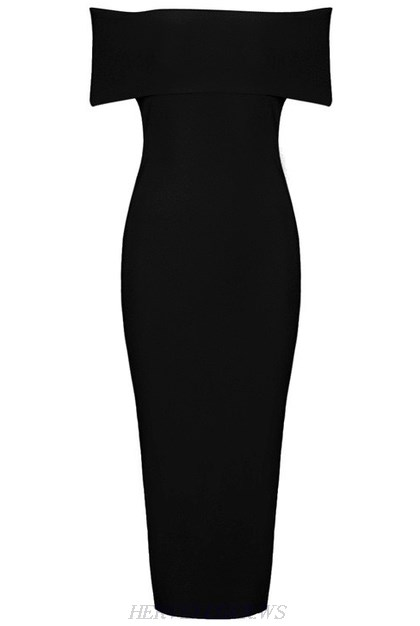 Herve Leger Black Bardot Side Slit Dress