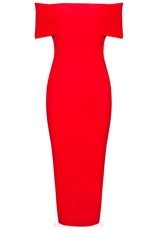 Herve Leger Red Bardot Side Slit Dress