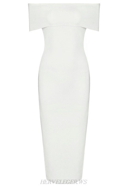 Herve Leger White Bardot Side Slit Dress