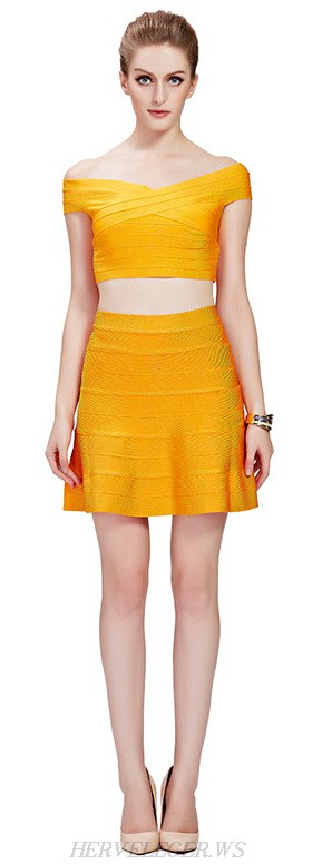 Herve Leger Yellow Bardot Skater Two Piece Bandage Dress