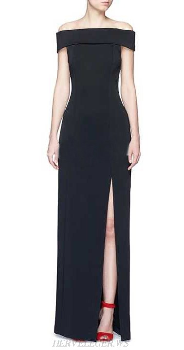 Herve Leger Black Bardot Slit Evening Gown