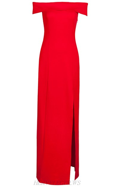Herve Leger Red Bardot Slit Evening Gown