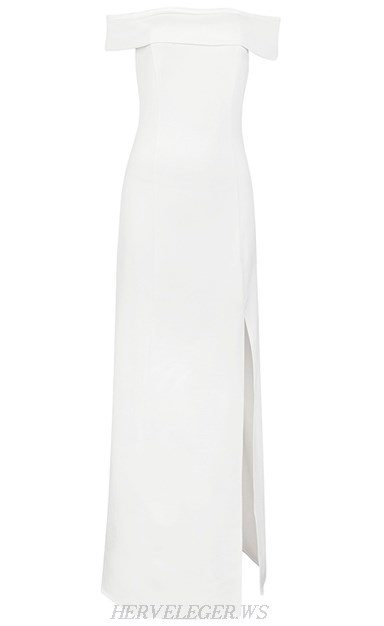 Herve Leger White Bardot Slit Evening Gown