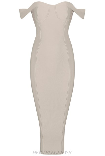Herve Leger Nude Bardot Sweetheart Dress