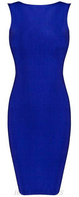 Herve Leger Blue Boatneck Backless Bandage Dress