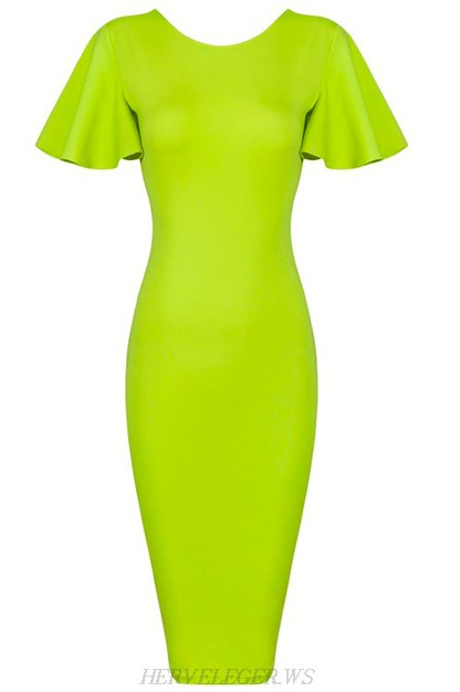 Herve Leger Green Butterfly Sleeve Bandage Dress