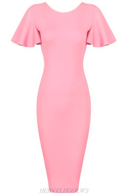 Herve Leger Pink Butterfly Sleeve Bandage Dress