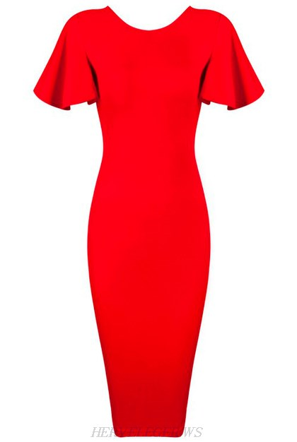 Herve Leger Red Butterfly Sleeve Bandage Dress