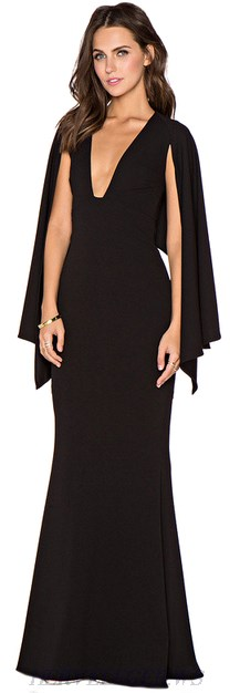 Herve Leger Black Cape Sleeve Plunge V Neck Mermaid Gown